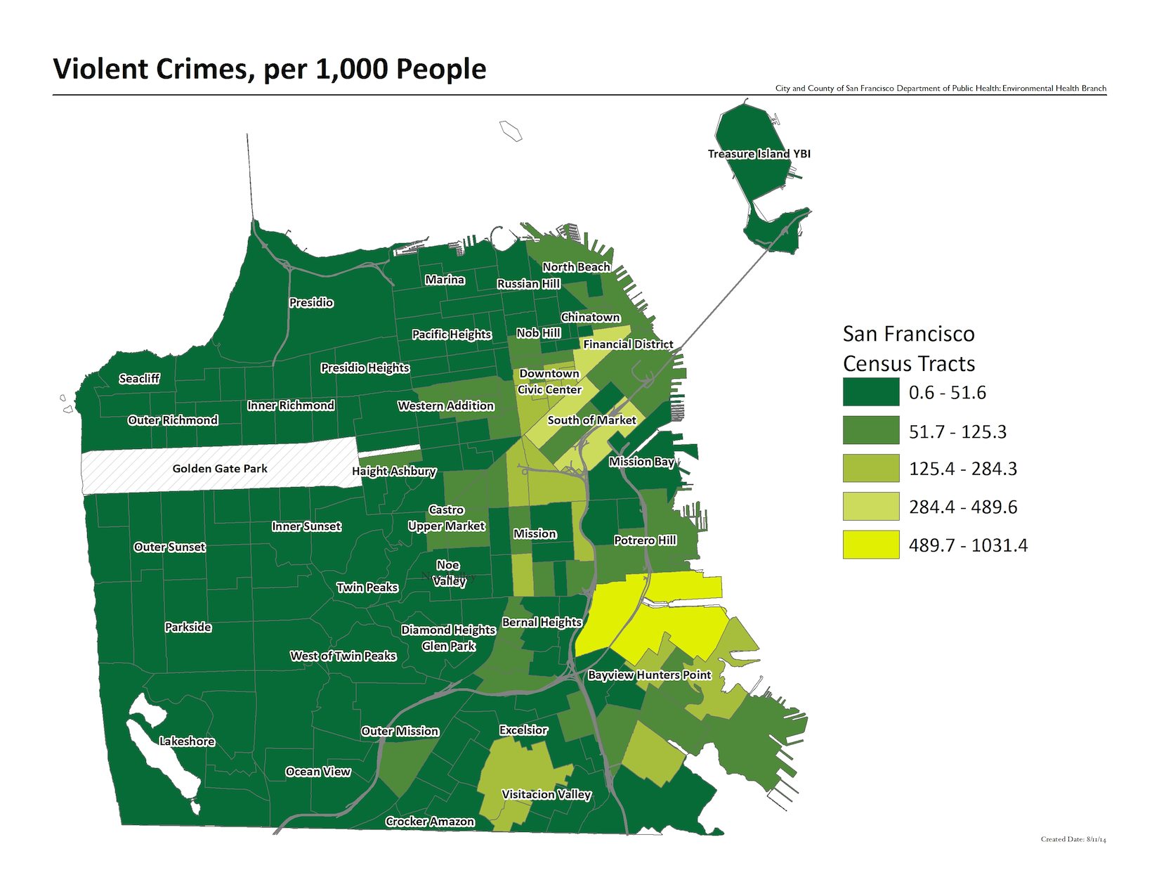 Map of violent crimes per 1000 people, by census tract. The highest crime rates are in the downtown and bayview hunters point neighborhoods.