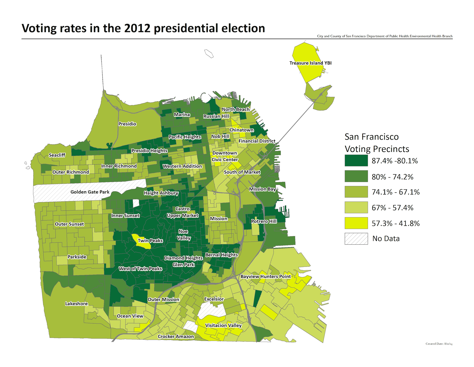 Voting rates in the 2012 presidential election, by precinct. The highest rates were in the Noe Valley and Diamond Heights neighborhoods. The Lowest rates include the Visitacion Valley and Bayview Hunters Point neighborhoods.