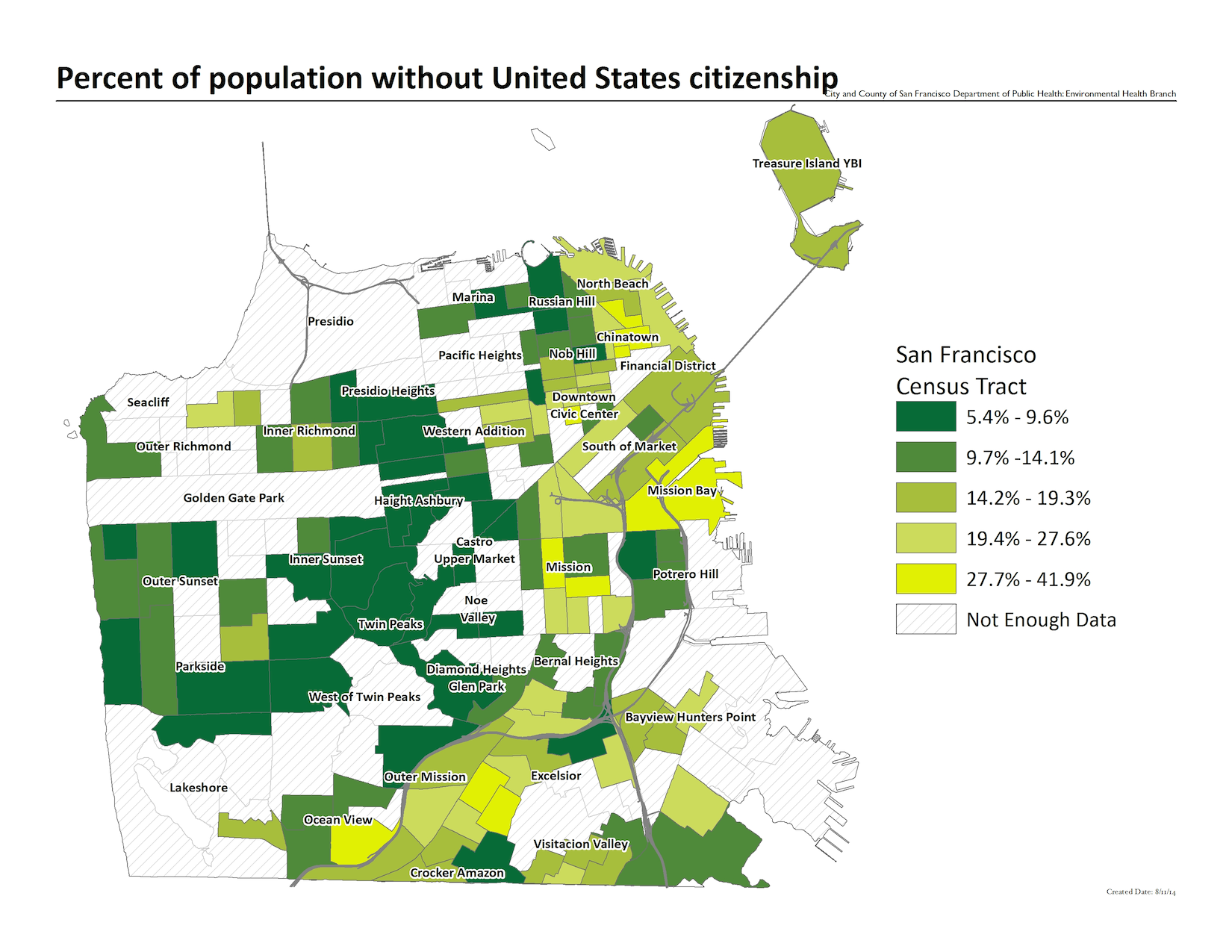 Map of the percent of the population without US citizenship, by census tract. The highest concentrations include the Chinatown and Mission Bay neighborhoods.