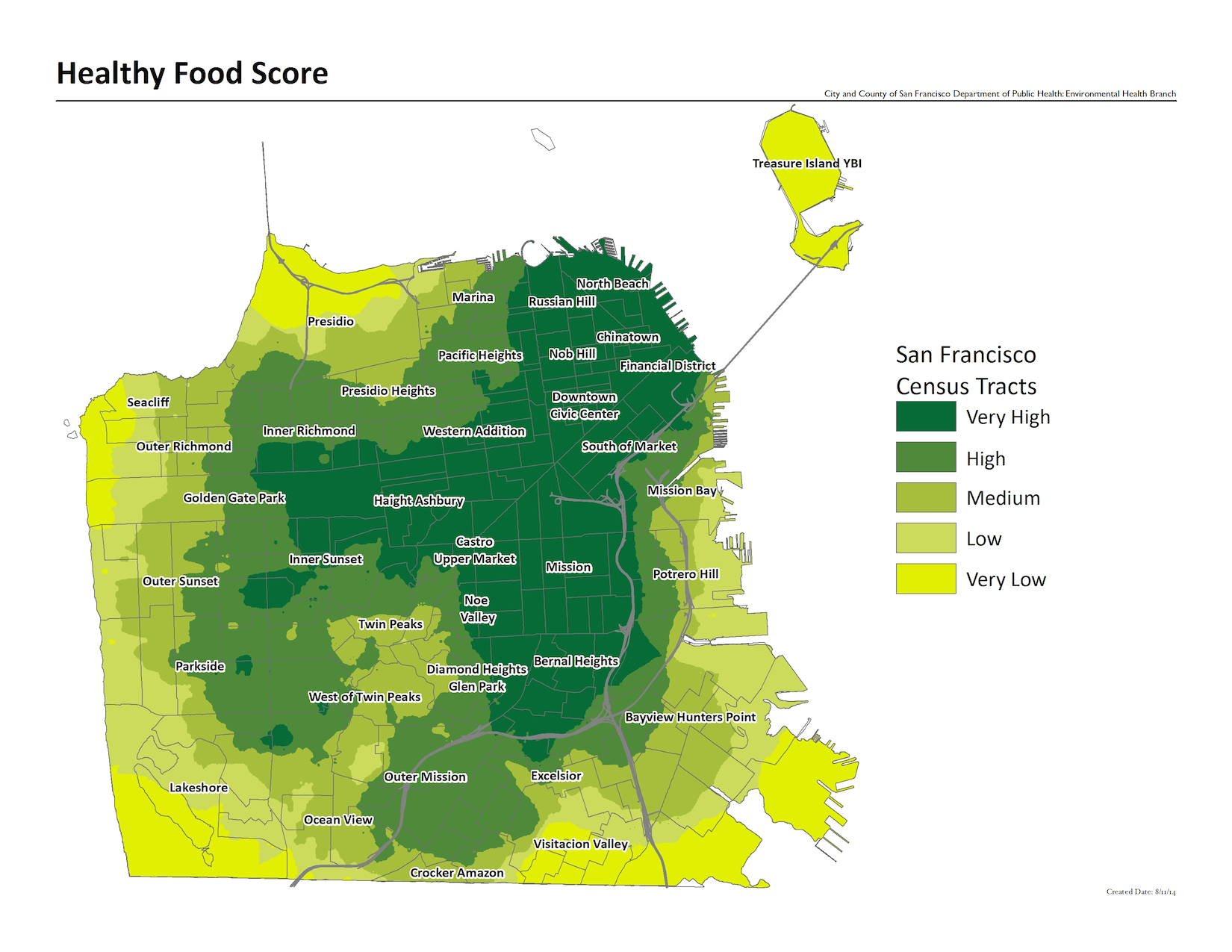 Healthy Food Score raster map. The neighborhoods with the highest concentrations of healthy food include the mission, haight ashbury, and downtown neighborhoods.