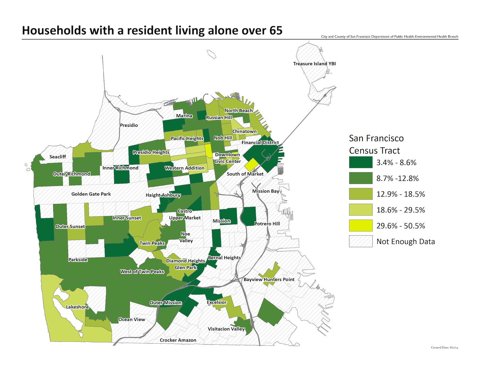 Map of the percent of households with a resident living alone who is over 65, by census tracts. The highest concentrations are in the Pacific Heights and Japantown areas.