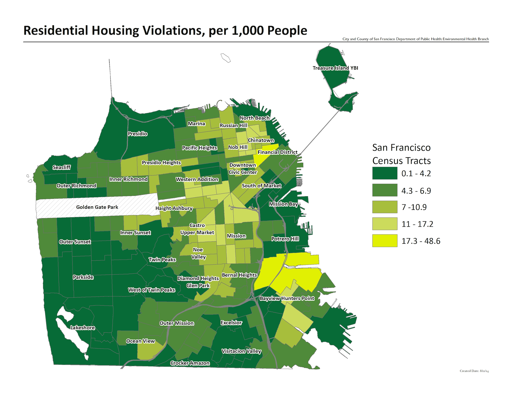 Map of residential housing violations, per 1000 people, by census tract. The neighborhoods with the most violations include the financial district and tenderloin areas.