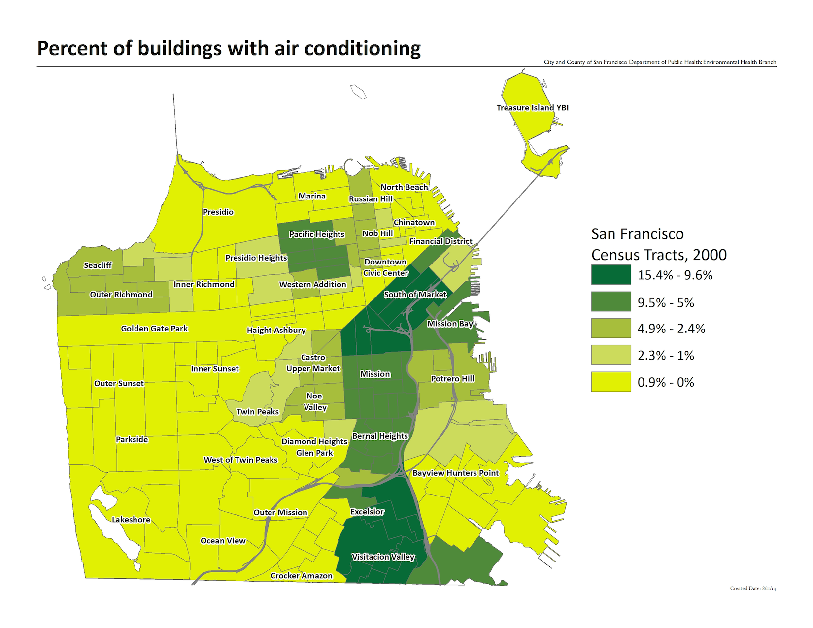 Map of the percent of buildings with air conditioning, by year 2000 census tracts. The mid-market and visitacion valley neighborhoods have the highest concentrations.