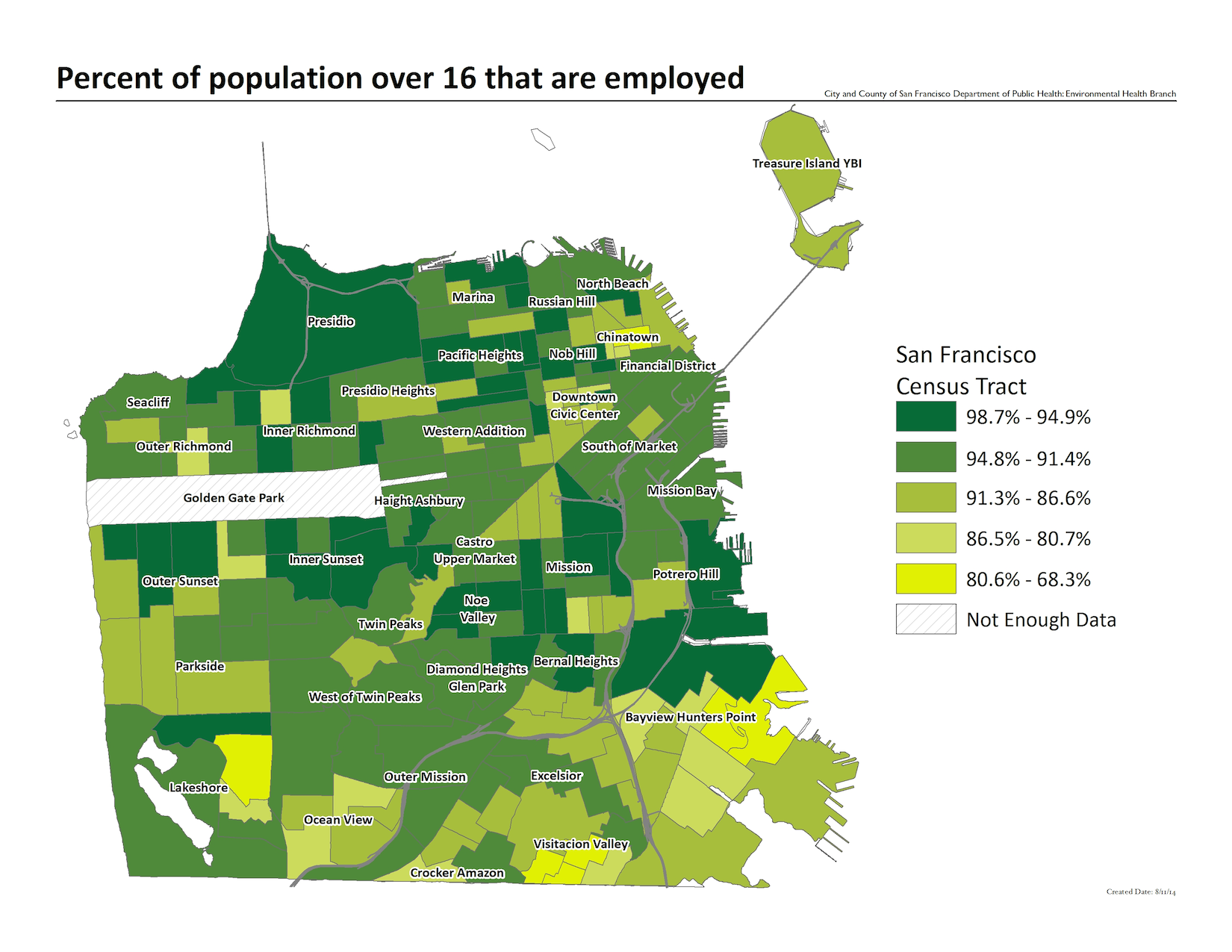 Map of the percent of population over 16 that are employed. Inner Sunset and Noe Valley have some of the highest concentrations.