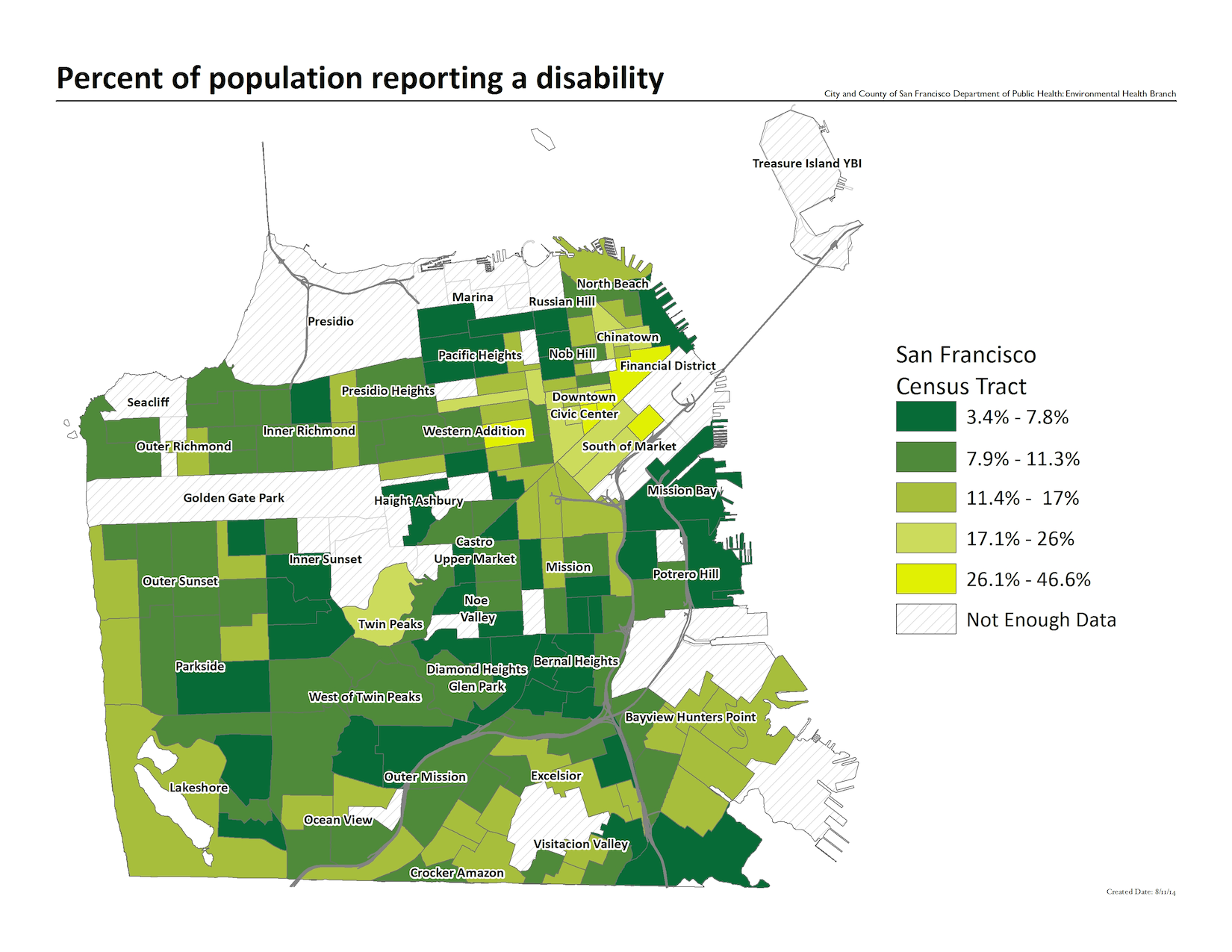 Map of the percent of the population reporting a disability, by census tract. Downtown and the Financial District have the highest numbers.