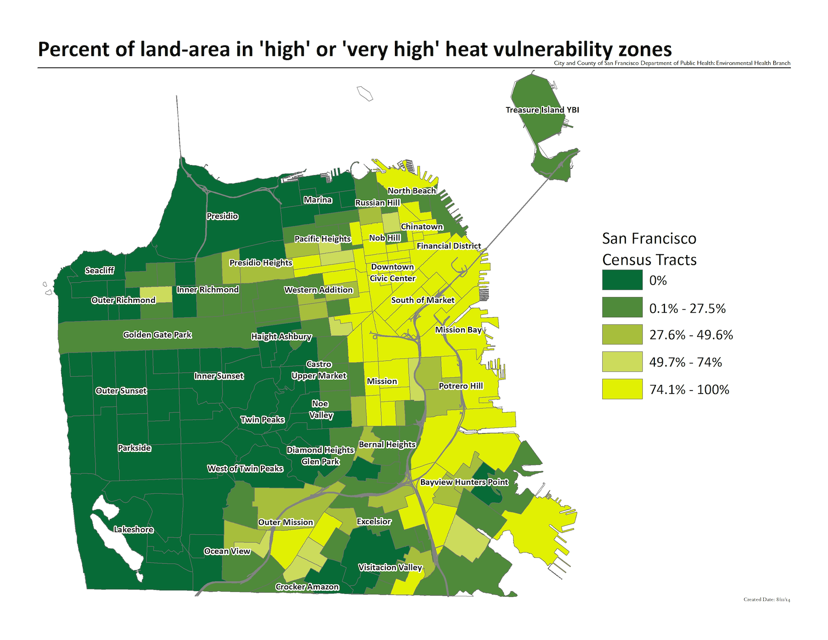Map of the percent land-area in high or very high heat vulnerability zones. The highest concentrations include census tracts in Mission Bay, SOMA, and the Financial District.