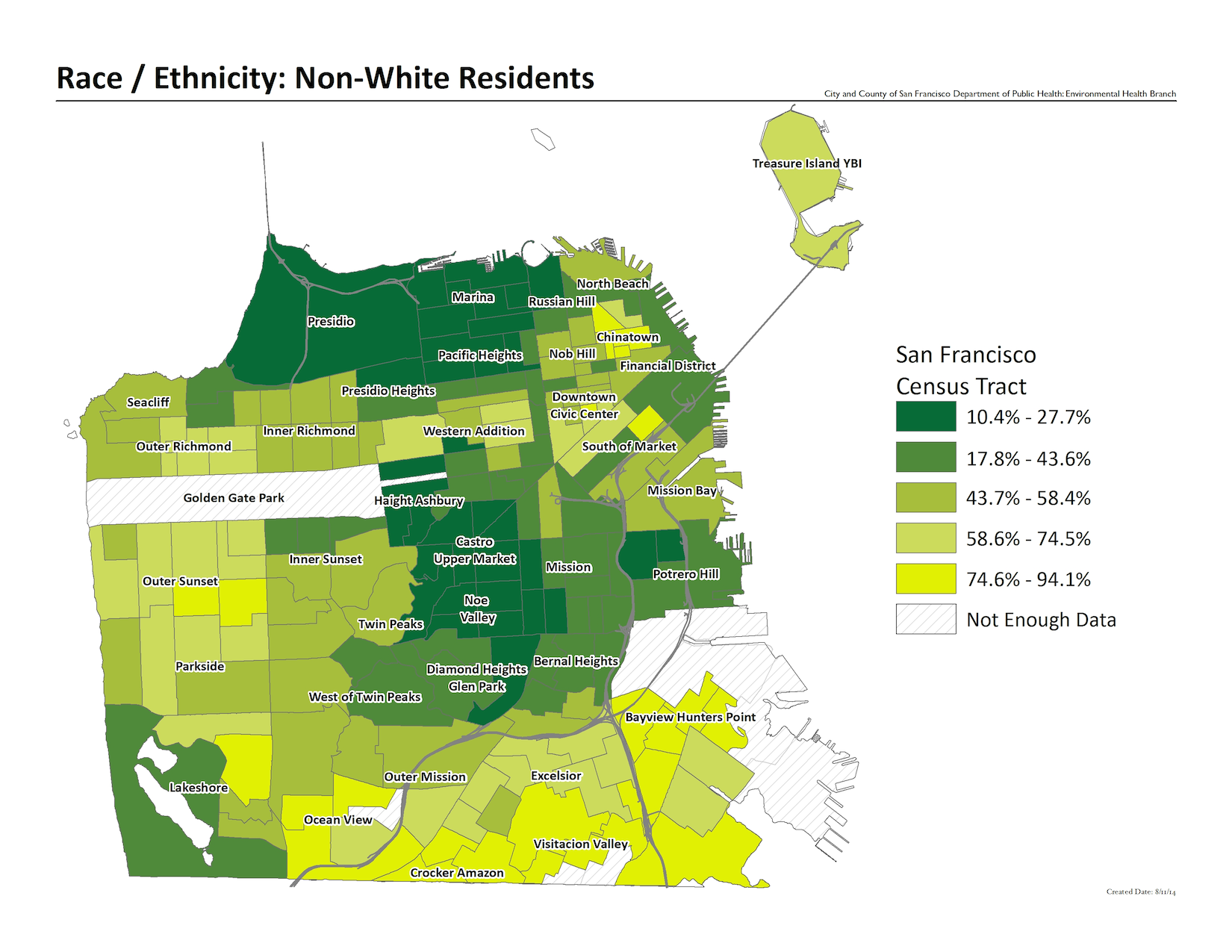 Map of Non-White residents by census tract. Outer Sunset and southern portions of the city have the largest concentrations.