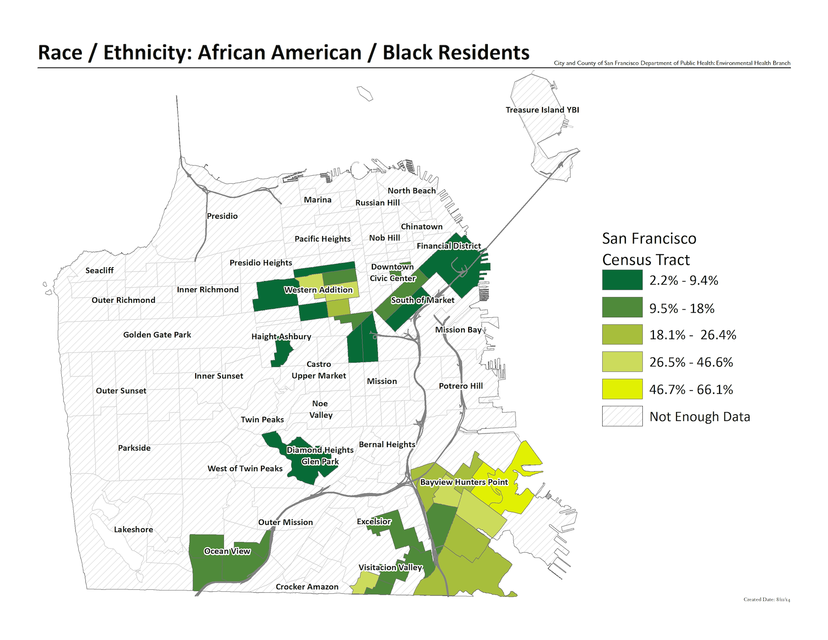 Map of percent black / African American residents by census tract. Bayview Hunters point has the highest percentage at 66%