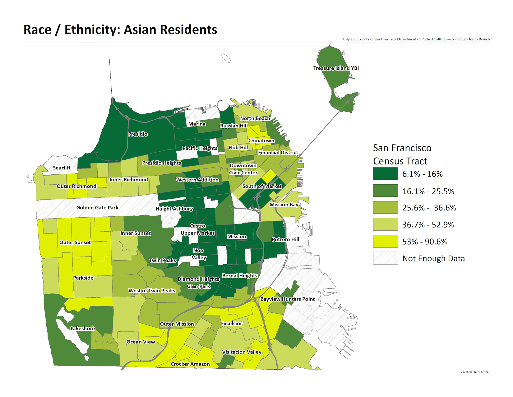Map of Asian Residents by Census Tract. Outer Sunset and Crocker Amazon have the highest percentages with 53% - 90%.
