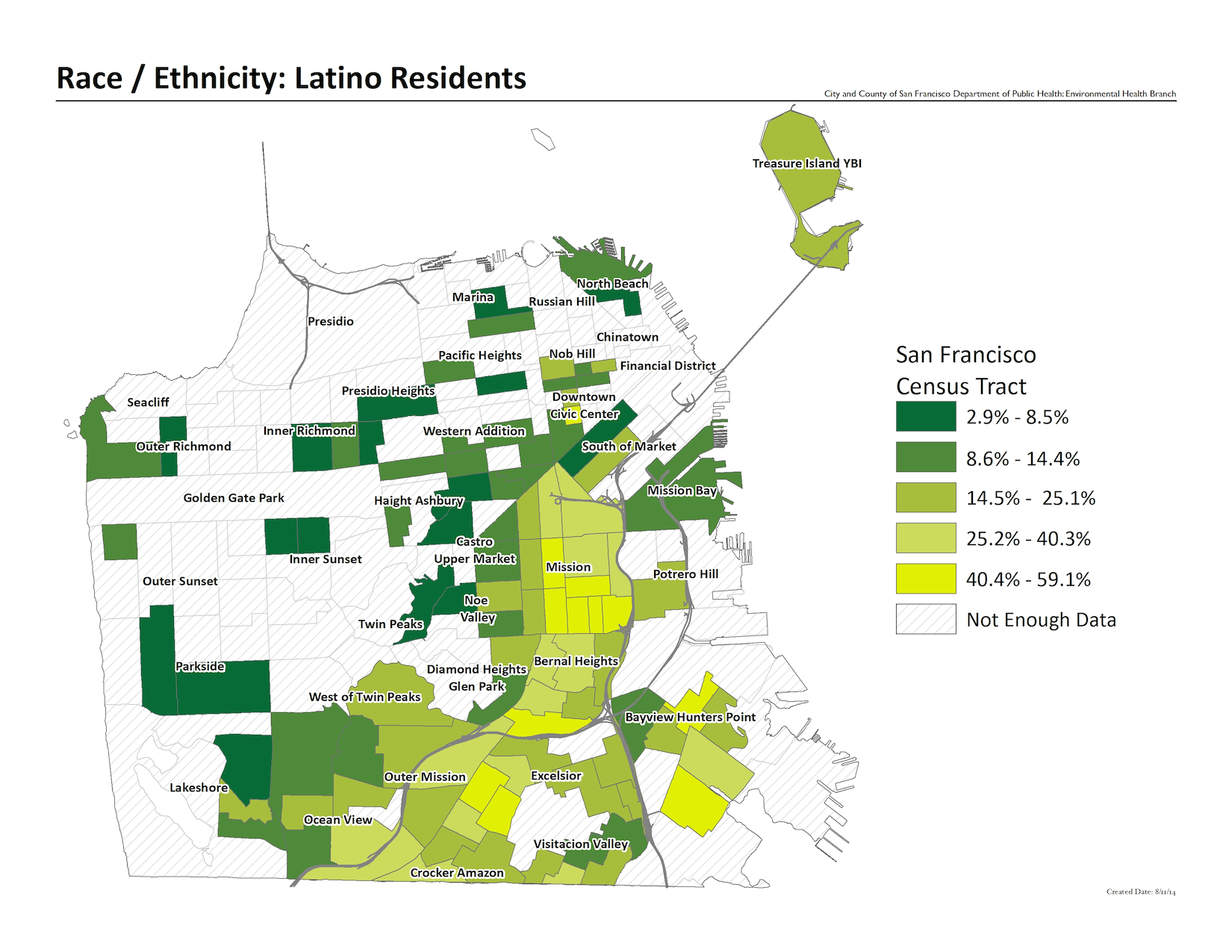 Map of percentage residents Latino by census tract. Mission is the highest with 40.4% to 59.1%