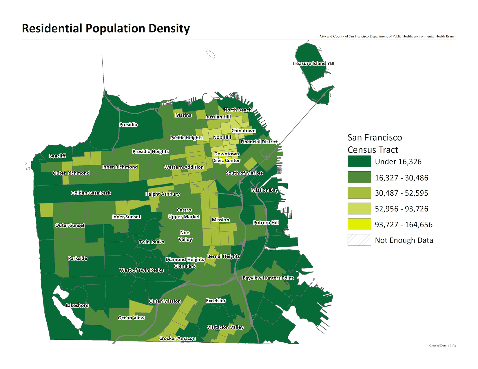 Residential population density map by census tract. Downtown, Chinatown, and Mission are the most dense neighborhoods.