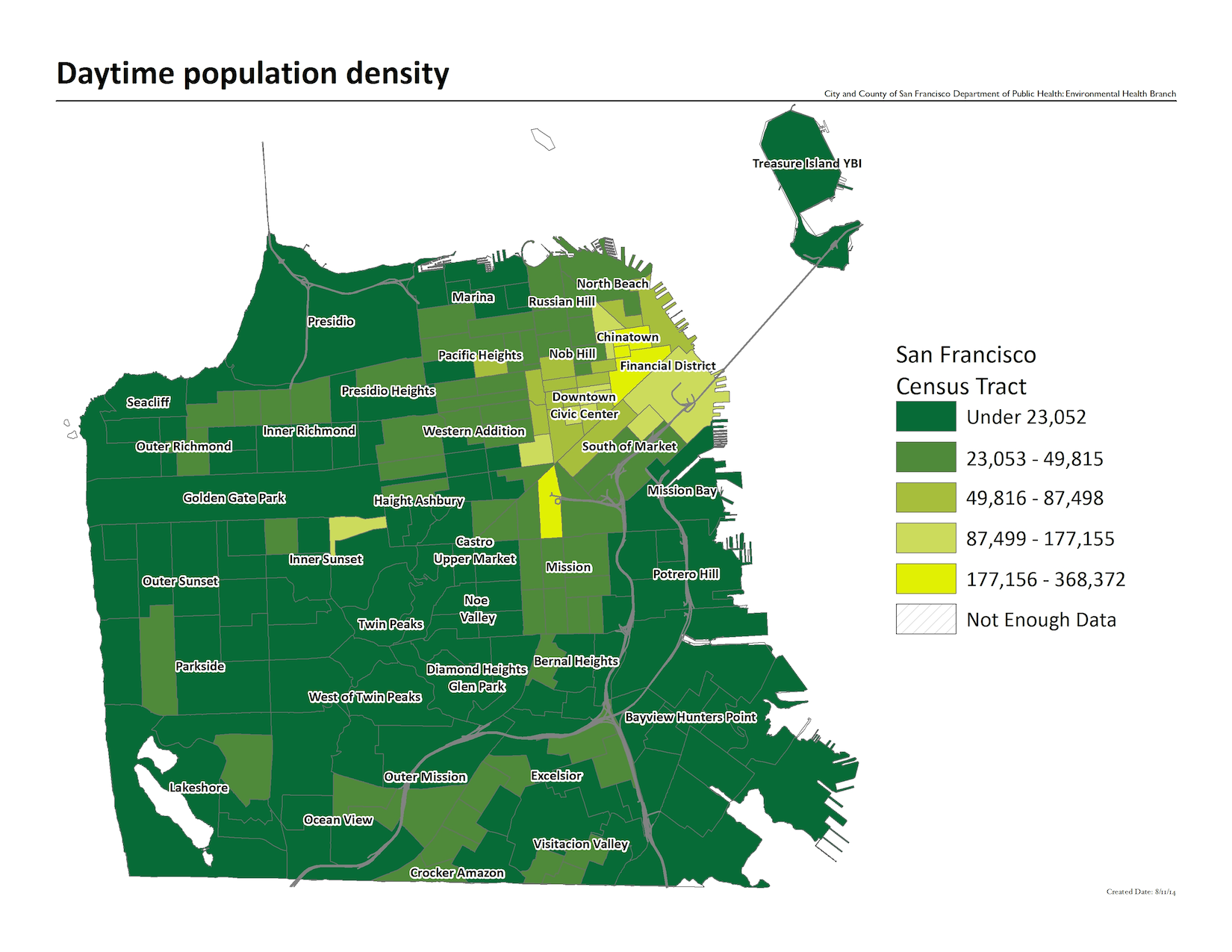 Map of daytime population density by census tract. Downtown / Civic Center the most dense neighborhood.