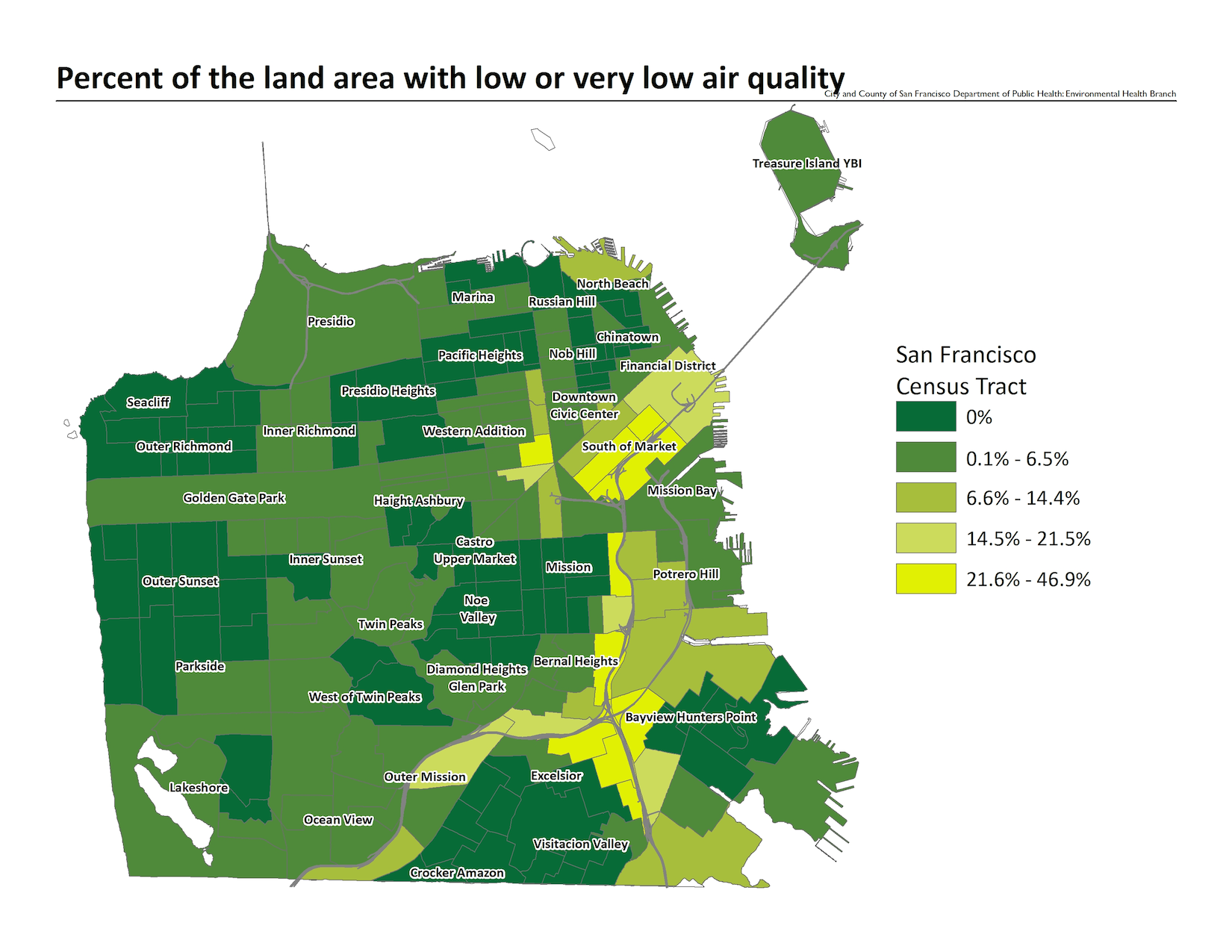 Map of the percent of the land area with low or very low air quality, by census tract. The neighborhoods with the highest concentration of PM2.5 and other particulates are along the 280 and 101 freeways.