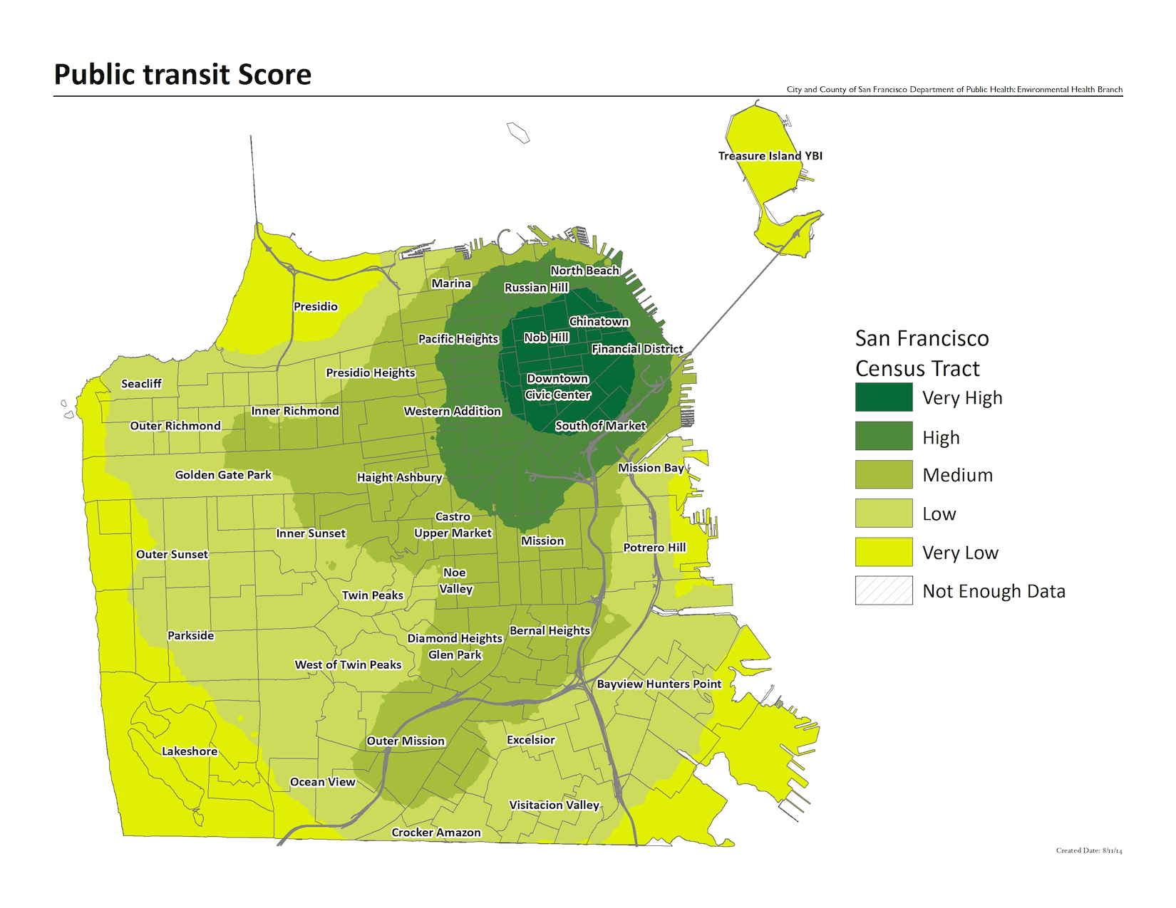Raster map of public transit score. The best served areas include Nob Hill, Chinatown, and the Financial District.